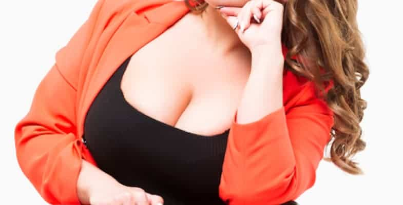 large breasts showing cleavage